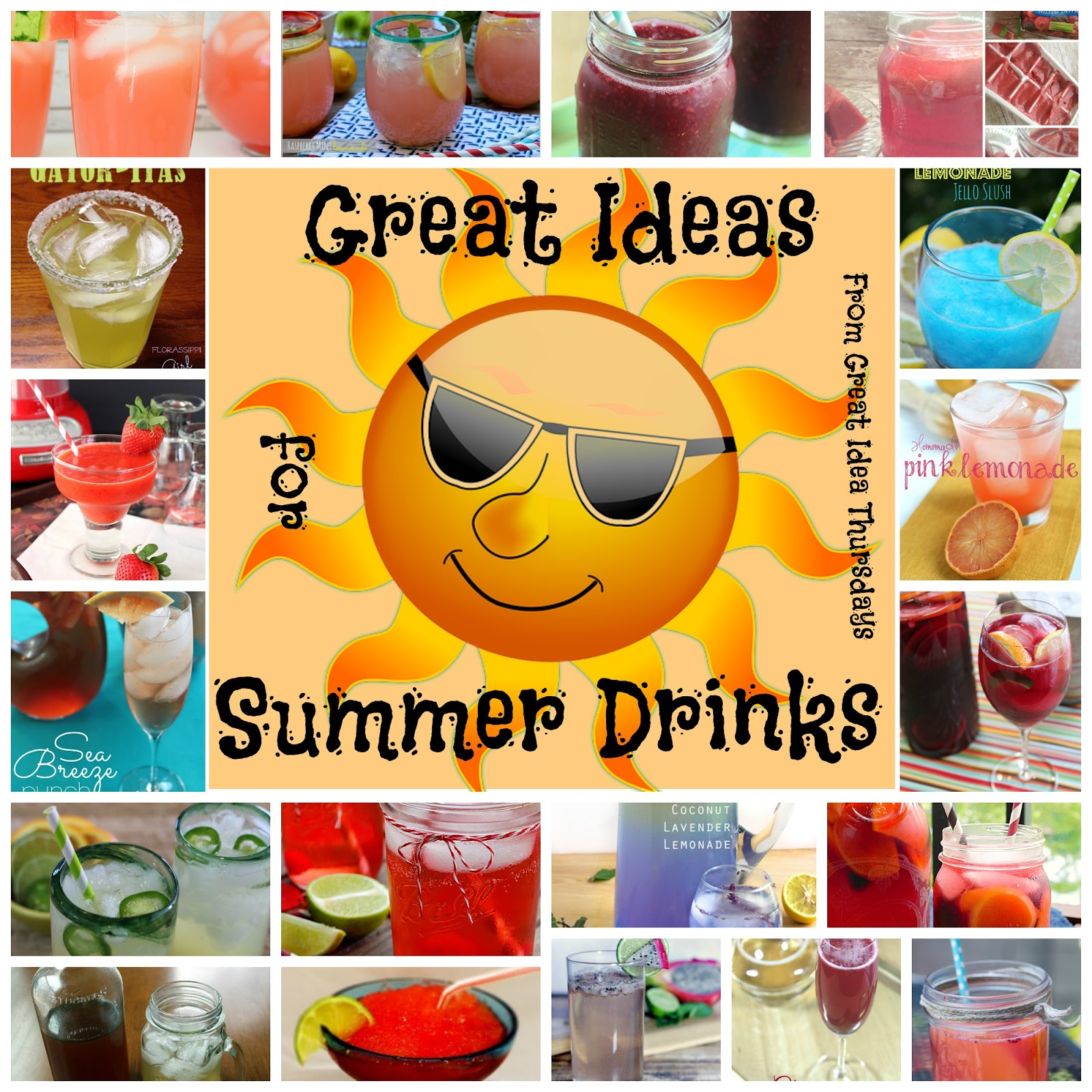 Great Ideas for Summer Drinks #roundup:  A Great Idea Thursdays roundup of great summer beverages.  Just in time for your 4th of July celebration (at least for those of us in the U.S.A.).