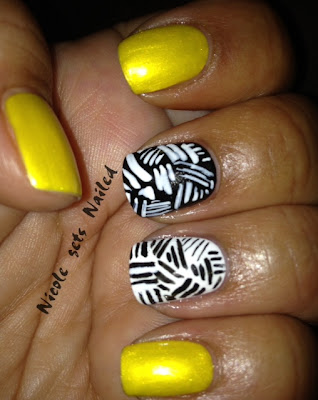 Yellow Black White Lines Nails