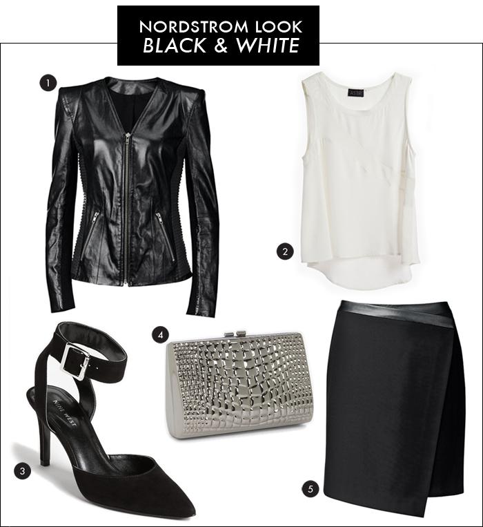 nordstrom, black and white trend, asymmetrical skirt, strong shoulder jacket, leather jacket, nine west