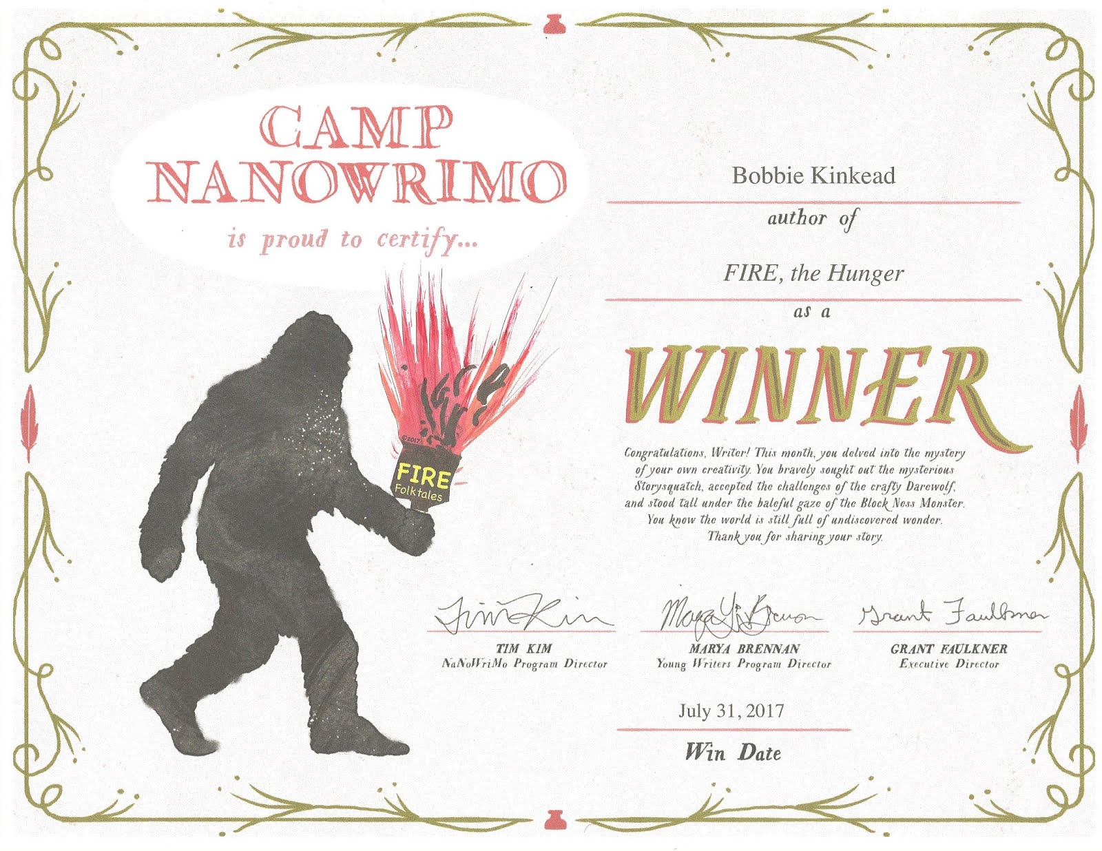 Winner NaNoWri CAMP July 2017