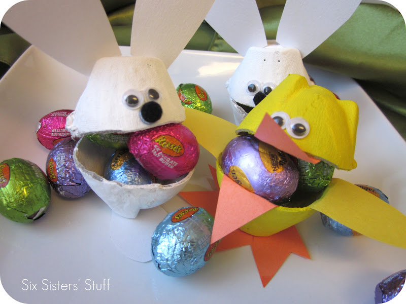 Easter bunny and duck egg carton candy cups six sisters