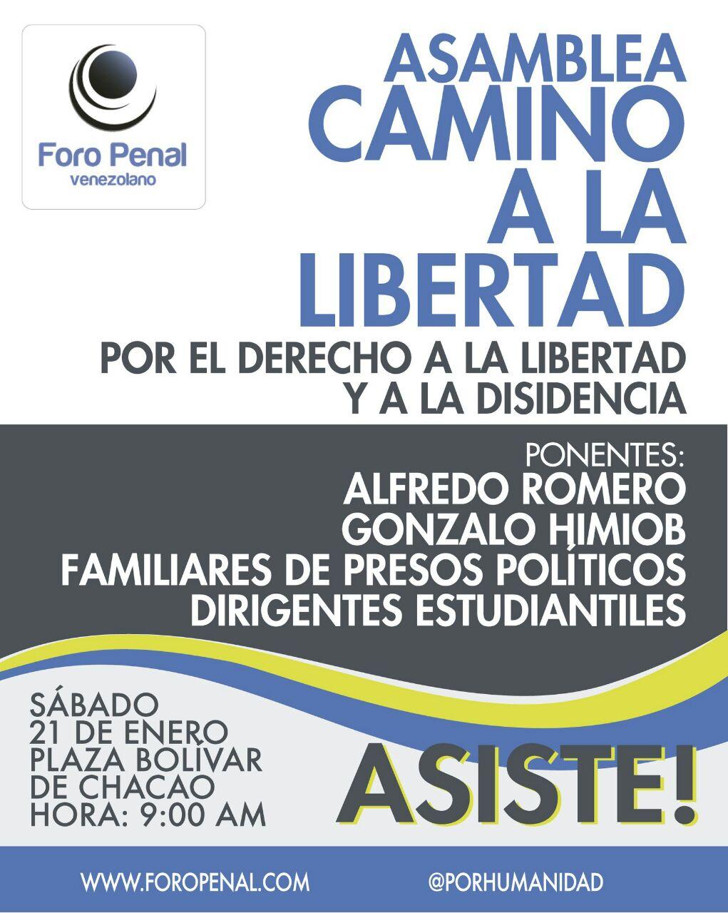 Foro Penal invita: Asamblea camino a la libertad