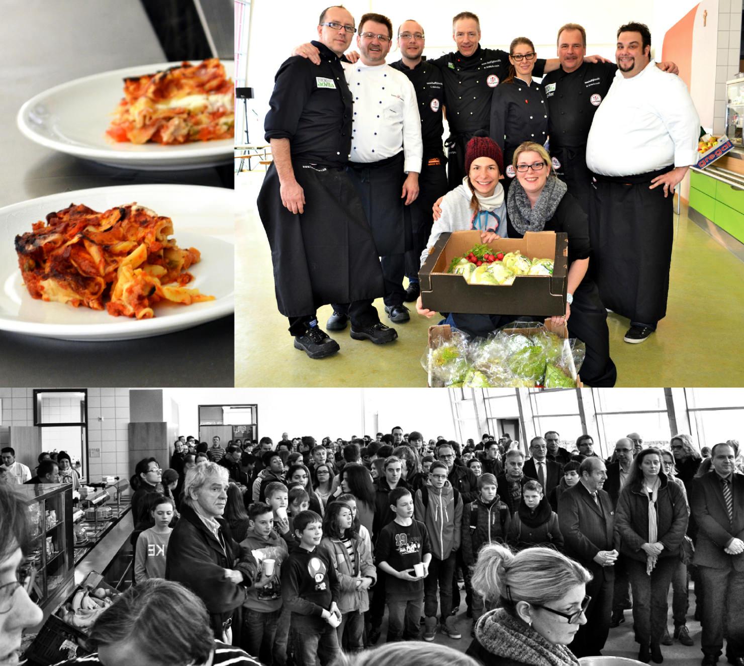 Die FoodFighter Michael Schieferstein, Andreas Schieferstein und Christian Schneider organisierten die große Kochshow in der IGS Emmelshausen.