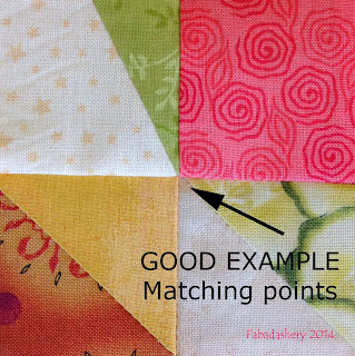 Good Example - matching points machine quilt piecing