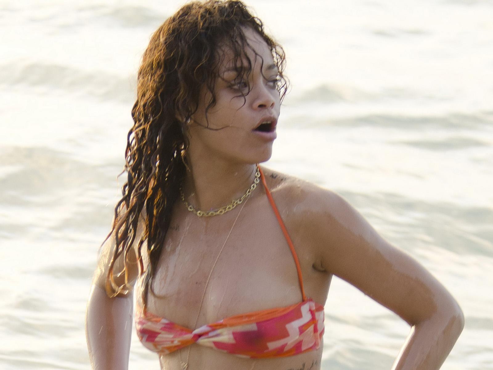 Rihanna barbados see thru bikini