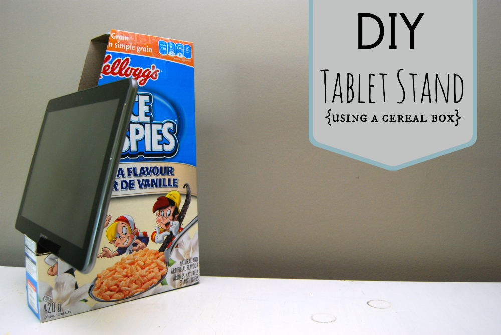 Diy cereal box tablet stand little miss mama for Diy cereal box