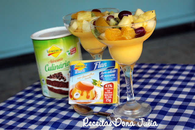Flan de baunilha com salada de frutas zero açúcar