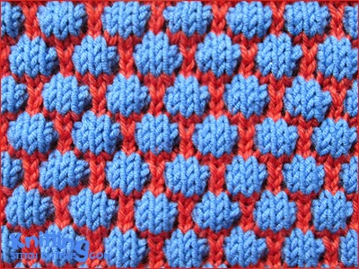 Blister Check also known as Blister stitch or Coin stitch. In this bubble pattern the drop-stitch technique is used to make a very attractive fabric with the double interest of color and texture.
