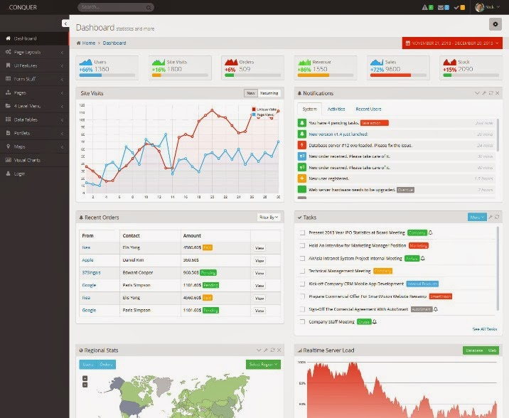 Conquer - Responsive Admin Dashboard Template
