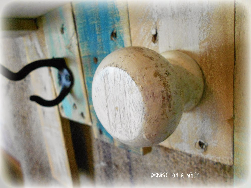 Wall Hook Board with a Chippy Doorknob Hook from Denise on a Whim