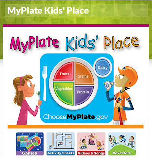 Screen shot of MyPlate Kids' Place website