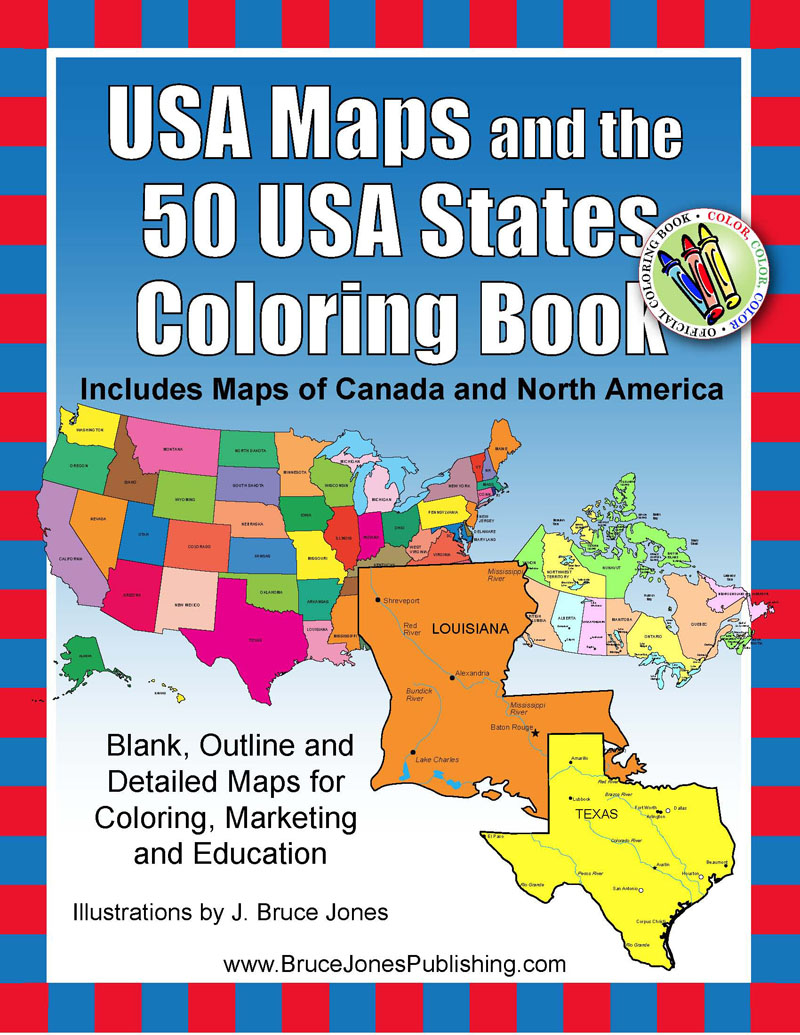 Bruce jones publishing new release usa maps and the 50 usa states coloring book gumiabroncs Images
