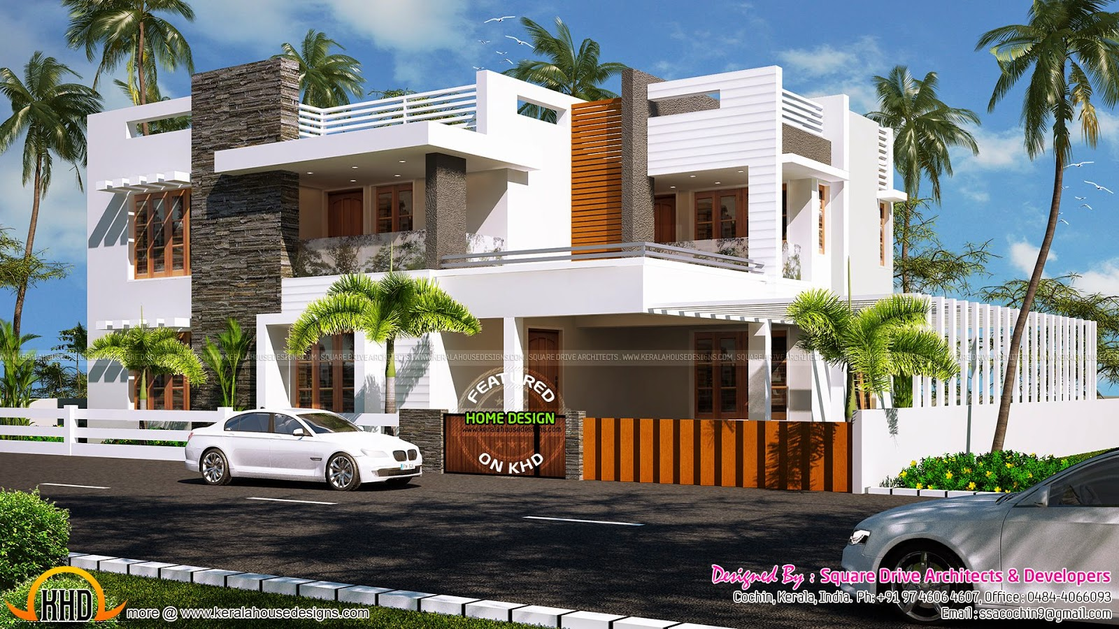 223 sq m contemporary villa exterior kerala home design for Contemporary villa plans