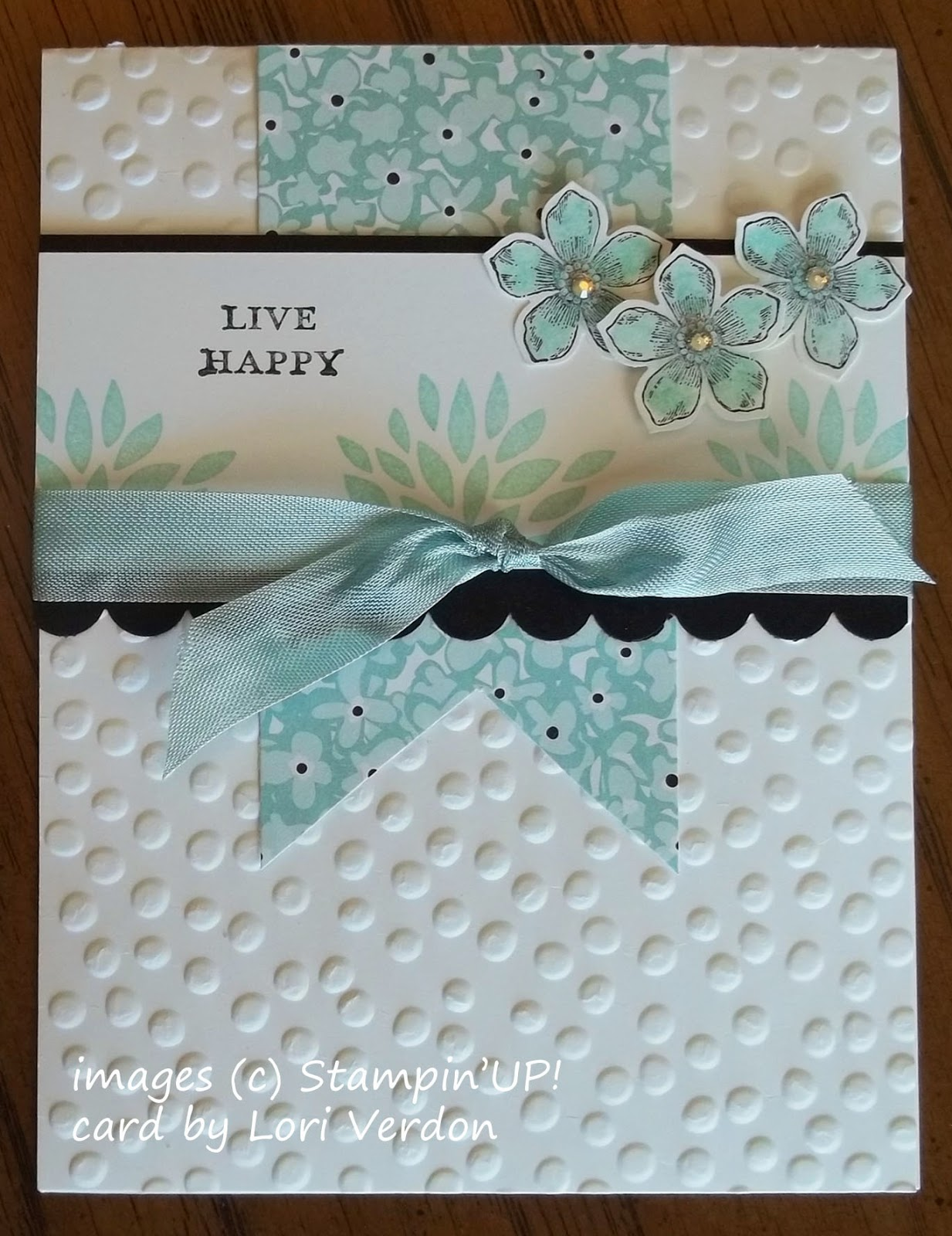 Card made with Stampin'UP! Sale-a-bration products: Decorative Dots Folder, Petal Parade and Petite Petals