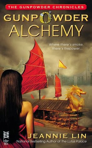 Cover description, Gunpowder Alchemy: foggy picture of a Chinese boat with a golden dragon. On the foreground a woman dressed in red looks at the boat, her back is to us.