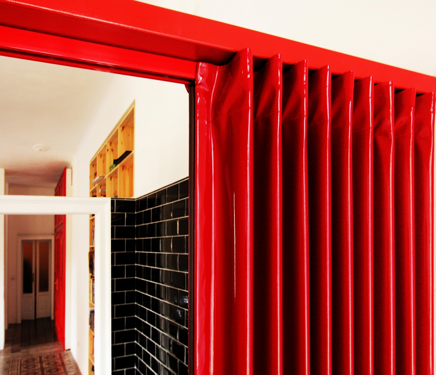 1240 #BE0D0E Accordion Doors: Glossy Red Folding Door By Architect Feresin Milan image Folding Accordion Doors 29231442