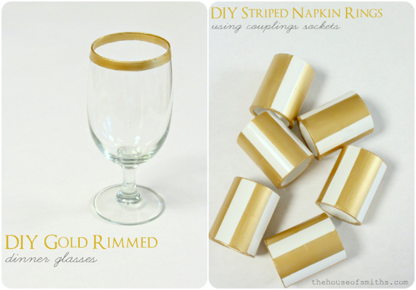 Diy gold rimmed dinner glasses striped napkin rings solutioingenieria Image collections