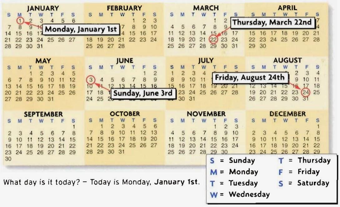 Ingl s guapo calendario d as de la semana y los meses en ingl s - Aprender ingles en un mes ...