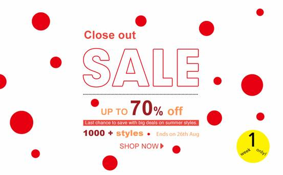 Close out sale!  Save up to 70% on 1000+ Clearance Styles