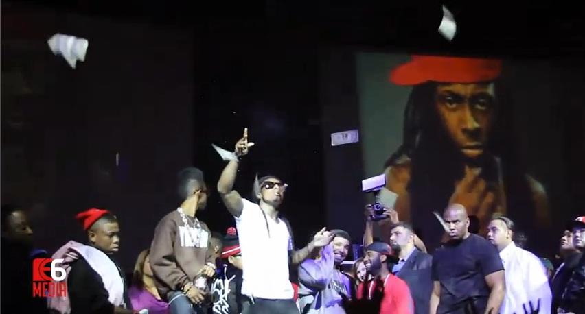 Foto do Lil Wayne jogando dinheiro para o público na festa