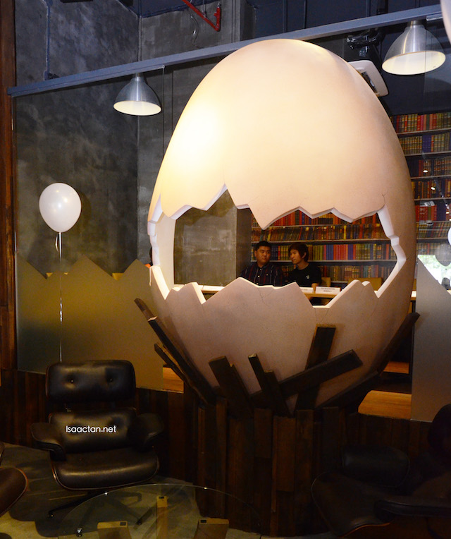 The signature hatched egg decor of Brunch & Munch Restaurant