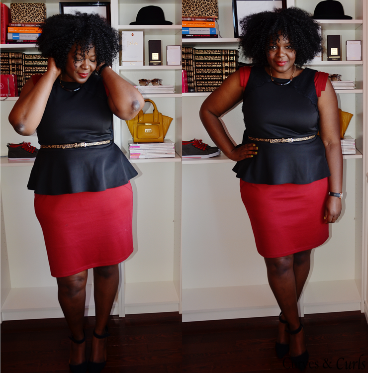 plus size outfit inspiration- burgundy skirt with peplum top
