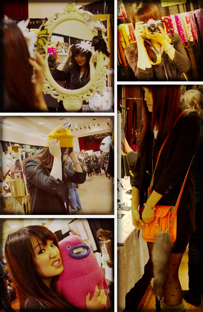 Vintage Fashion, Thrift Fashion, Street Style, Style, Jasmine Zhu at Make it the handmade revolution, Cambridge Satchel Company Fluoro, Fox tail, Kit monster, colourful camera strap, crazy heads fox ear hat
