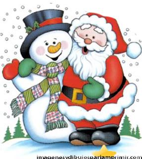 dibujo de Santa Claus y muñeco de nieve
