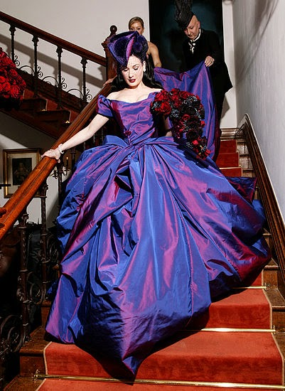 Dita Von Teese's Purple Wedding Dress - Affordable Purple Wedding Dresses