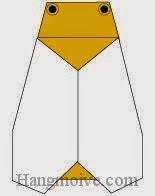 Bước 12: Vẽ mắt để hoàn thành cách xếp con ve sầu bằng giấy theo phong cách origami.