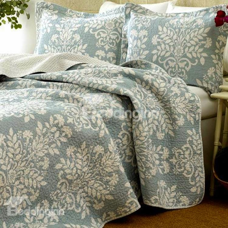 New Arrival Elegant Light Blue Floral Patterns 3-piece Bed in a Bag Sets Item Code: 10875096
