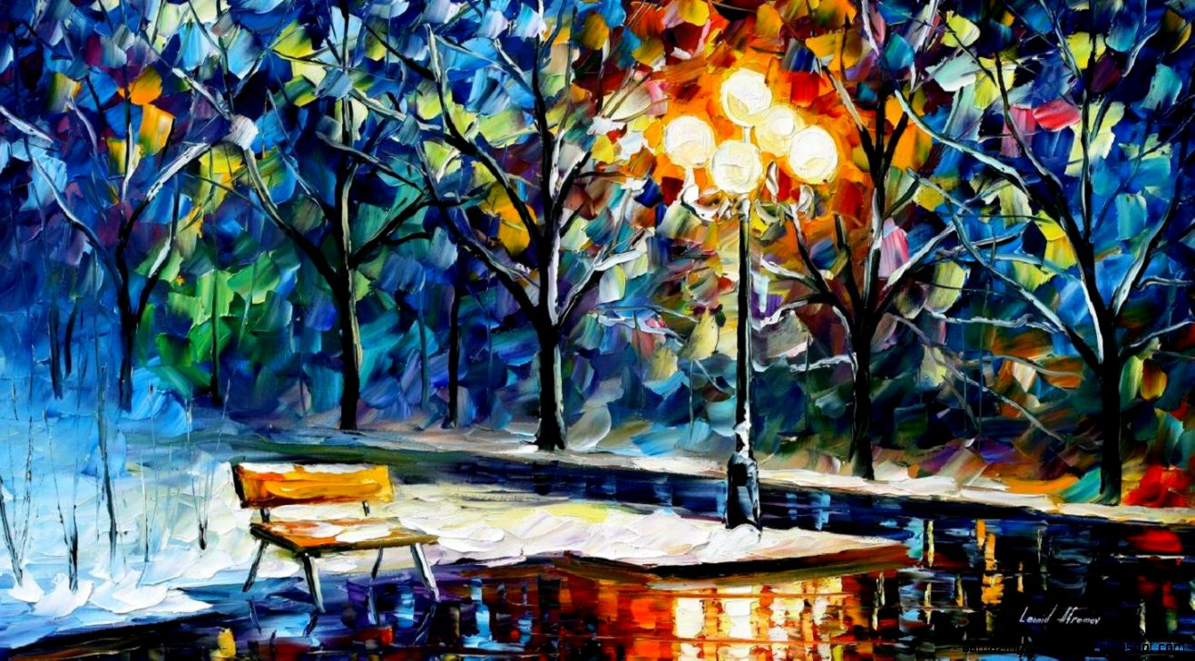 WINTER NIGHT — PALETTE KNIFE Oil Painting On Canvas By Leonid