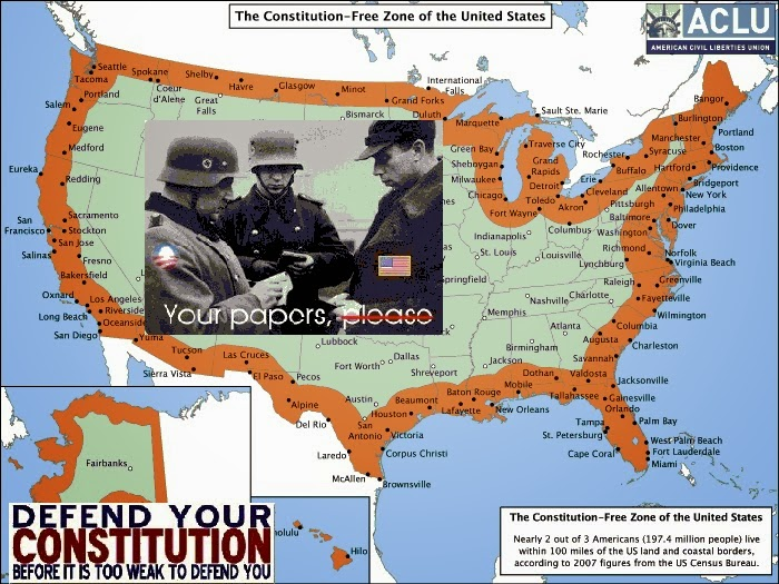 News Man Constitution Free Zones 100 Miles Inside US Borders - Map 100 Miles Us Border