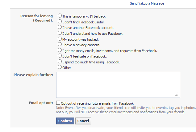 How do you terminate your facebook account