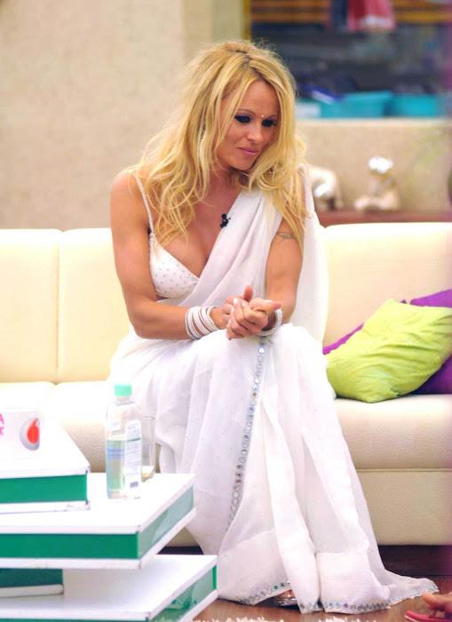 pamela anderson in a bikini blouse saree