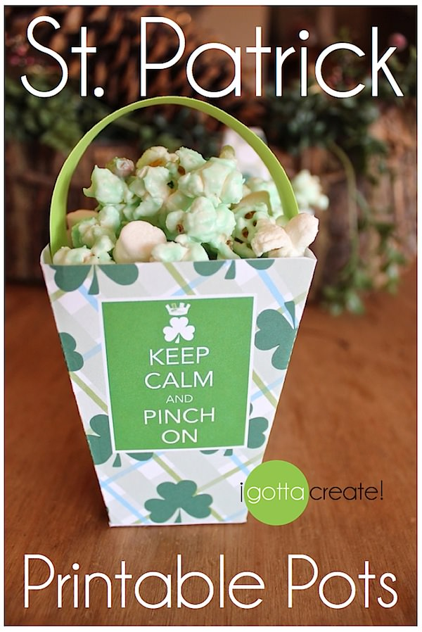 Free St. Patricks Day printable #leprechaun treat pots! | Download at I Gotta Create!