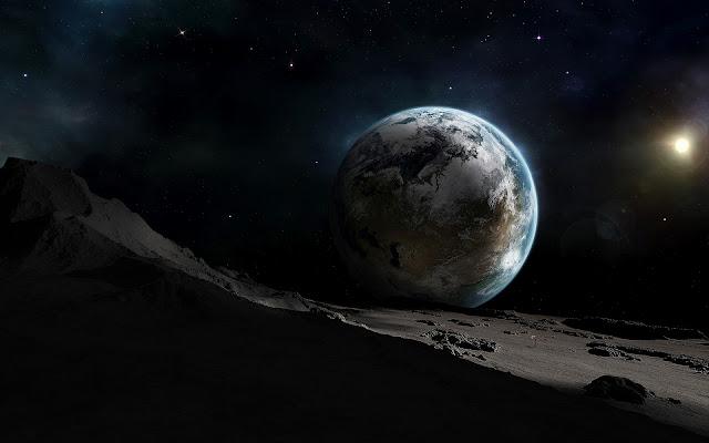 Foto van de Aarde gezien vanaf de Maan