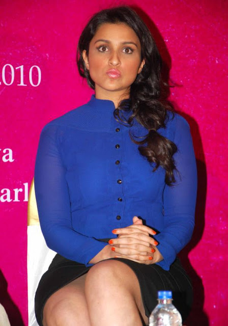 Cute Parineeti Chopra in Dark Blue Open shirt and Tight Black Business Skirt