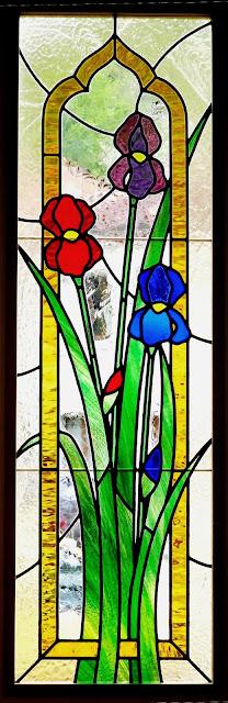 Vitrail, verre de couleur, plomb, porte intérieure sur mesure
