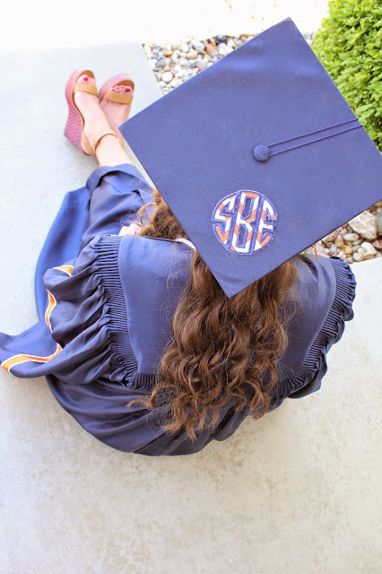 Anchors and Pearls Graduation Cap