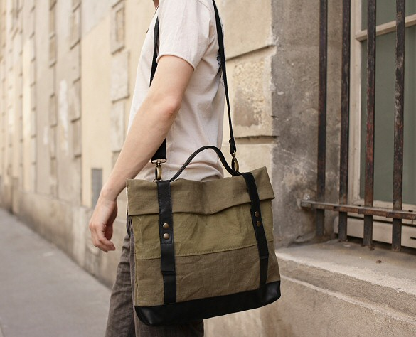 Cartable homme en toile army