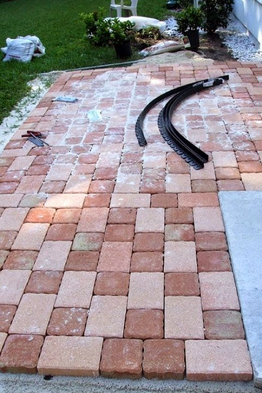 preparing the patio stone pavers project for edging