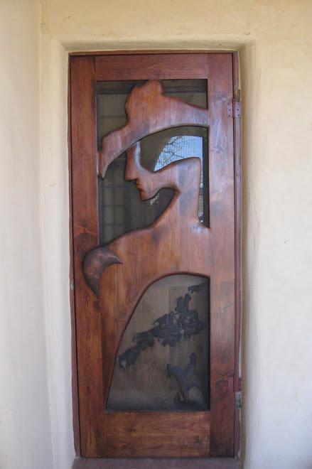 """""""Claunch Ranch"""" stained alderwood door"""