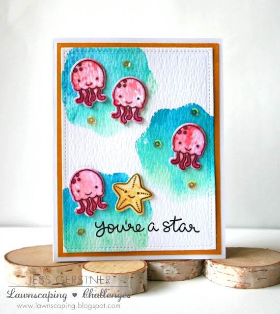 Distress Ink Smooshing to Create an Ocean Background and Color Lawn Fawn Stamps by Jess Gerstner for Lawnscaping