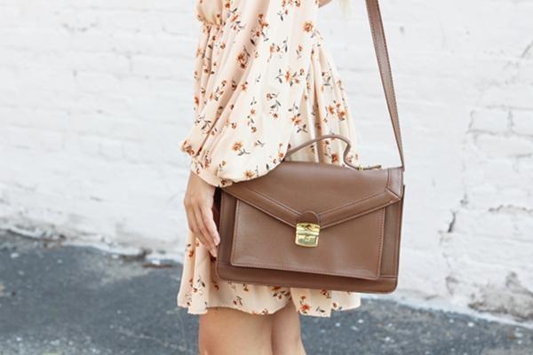 Jessica Lemos jesslemos jess Pink Blush peasant long sleeve floral dress brown satchel