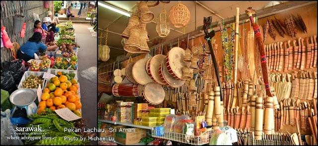 Picture combo of local native market scenes at Lachau Bazaar | Kuching Sarawak Malaysia Borneo