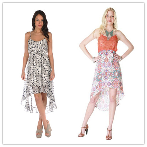 high low dresses with print design