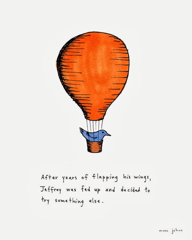 bird in hot air balloon illustration