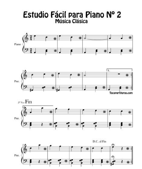 M sica clasica estudio f cil para piano n 2 partituras for Musica clasica para entrenar