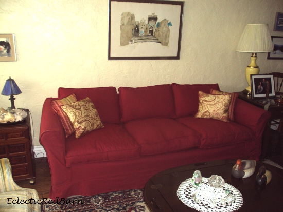 Eclectic Red Barn: Slip covered red couch